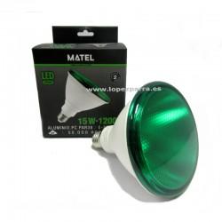 BOMBILLA LED VERDE 15 W PAR 38 MATEL