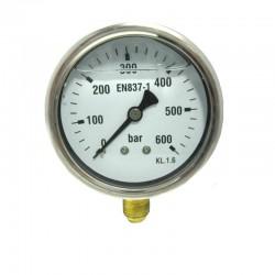 MANOMETRO GLICERINA INOX. 600ATM 63MM 1/4 VERTICAL