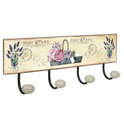 PERCHA PARED 4 POMOS PORCELANA LAVANDA