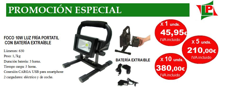 Promoción foco proyector batería extraible+1
